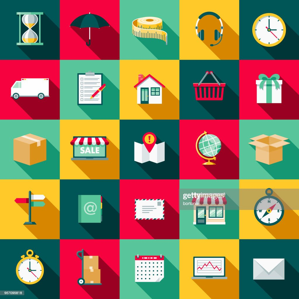 Shipping Flat Design Icon Set with Side Shadow : stock illustration