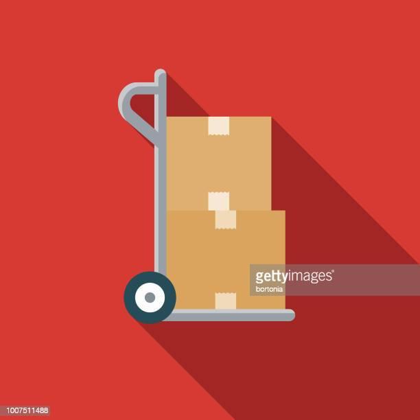 shipping flat design insurance icon - hand truck stock illustrations, clip art, cartoons, & icons
