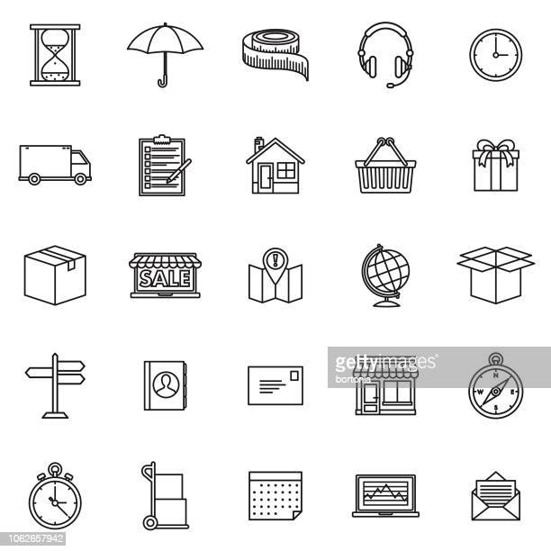 Shipping & Freight Thin Line Outline Icon Set