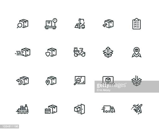 shipping icon set - thick line series - shipping stock illustrations