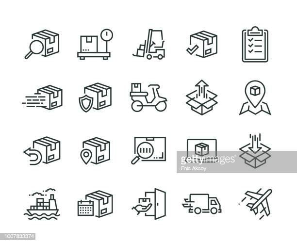 shipping icon set - shipping stock illustrations