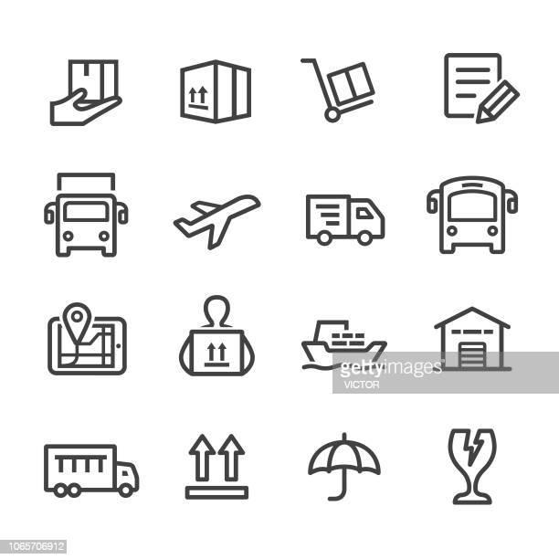 versand icons - line serie - teil einer serie stock-grafiken, -clipart, -cartoons und -symbole