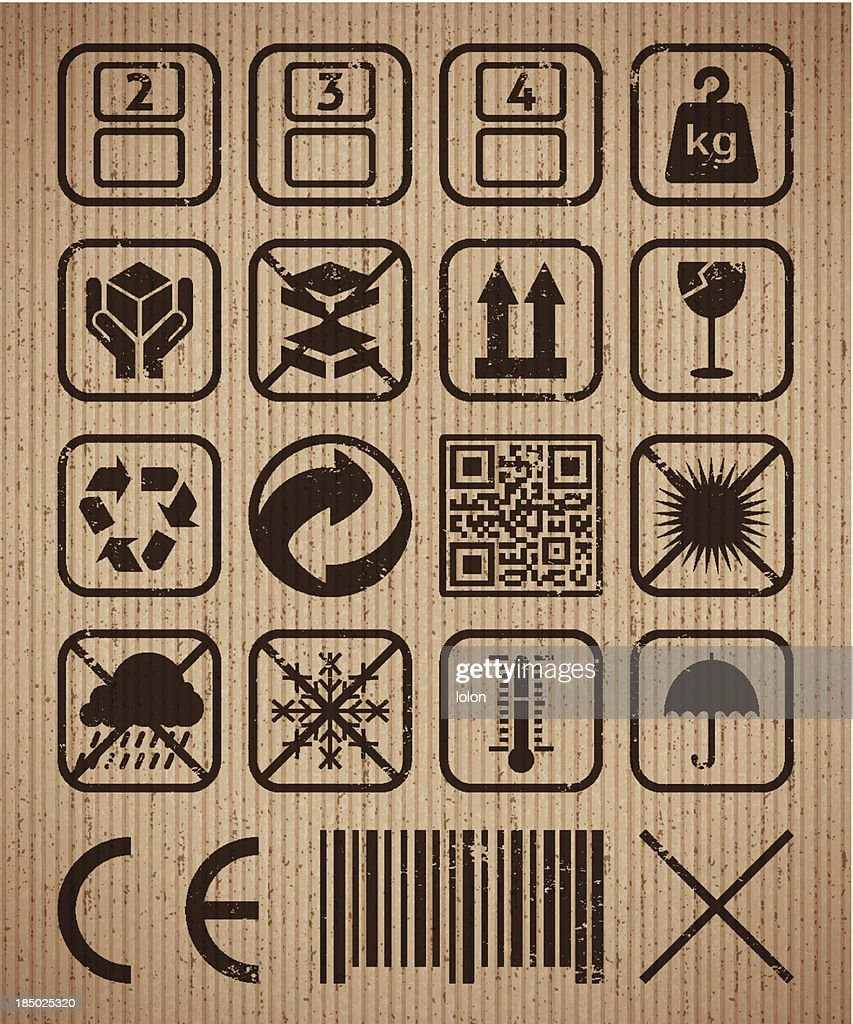 Shipping icons on a cardboard background