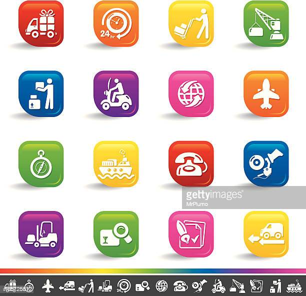 shipping icons | rainbow series - moped stock illustrations, clip art, cartoons, & icons