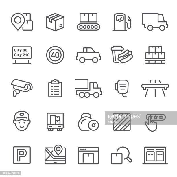 illustrations, cliparts, dessins animés et icônes de icônes de livraison - chauffeur routier