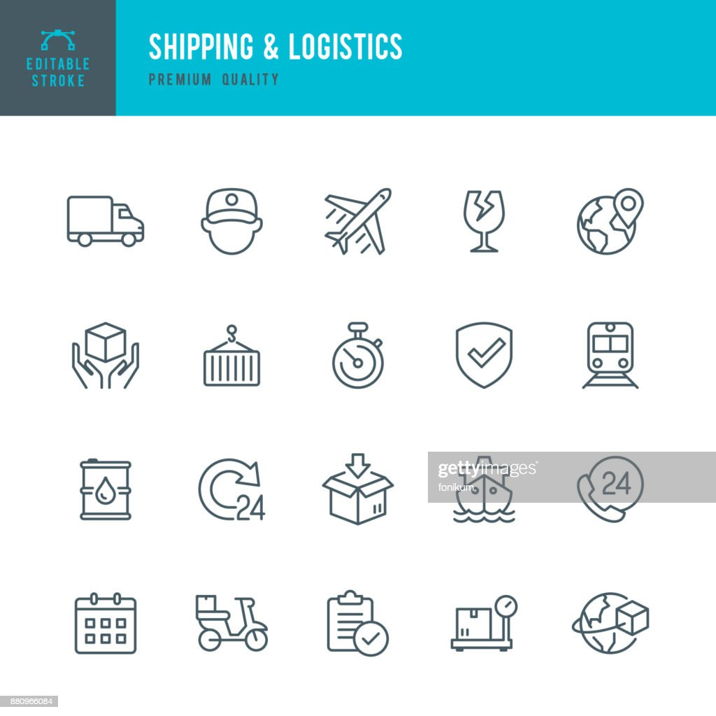 Shipping & Logistic - set of thin line vector icons : stock illustration