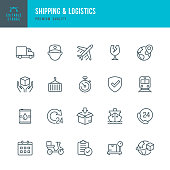 Shipping & Logistic - set of thin line vector icons