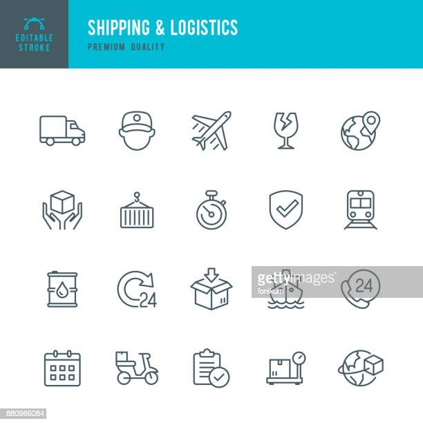 shipping & logistic - set of thin line vector icons - shipping stock illustrations