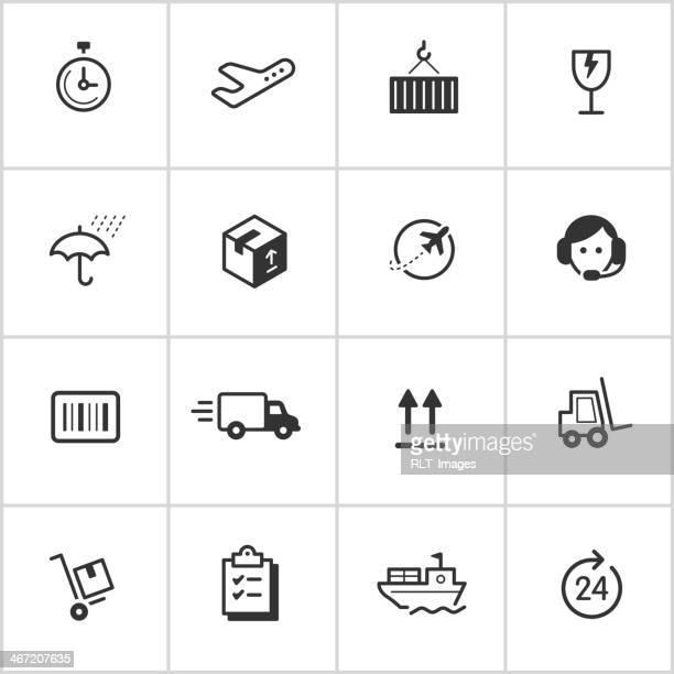 ilustraciones, imágenes clip art, dibujos animados e iconos de stock de logística del envío & serie inky iconos — - fragilidad