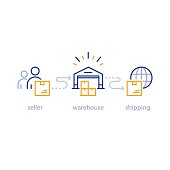 Shipping parcel from seller to buyer globally, international shipment, delivery network, warehouse icon
