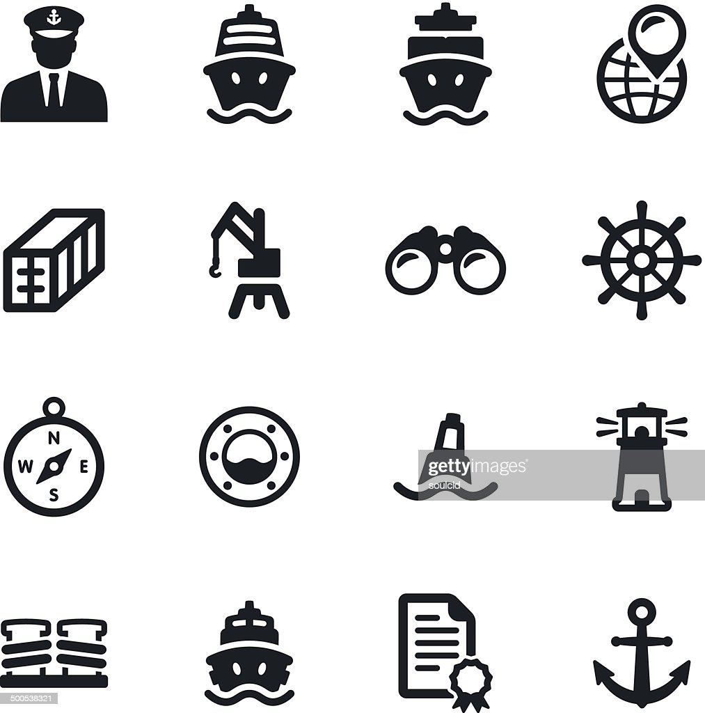 Shipping Port Icons : stock illustration
