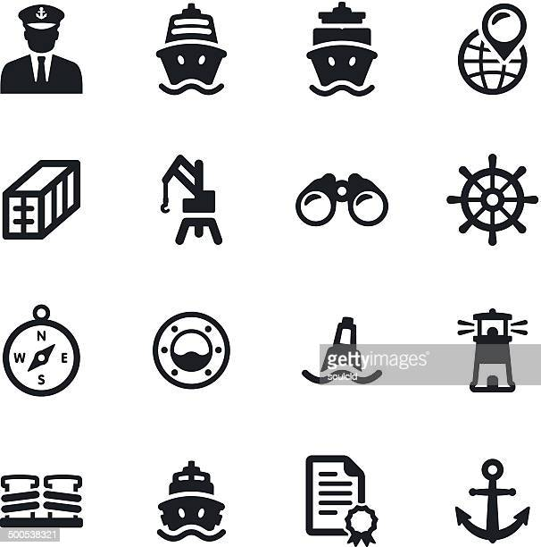shipping port icons - commercial dock stock illustrations
