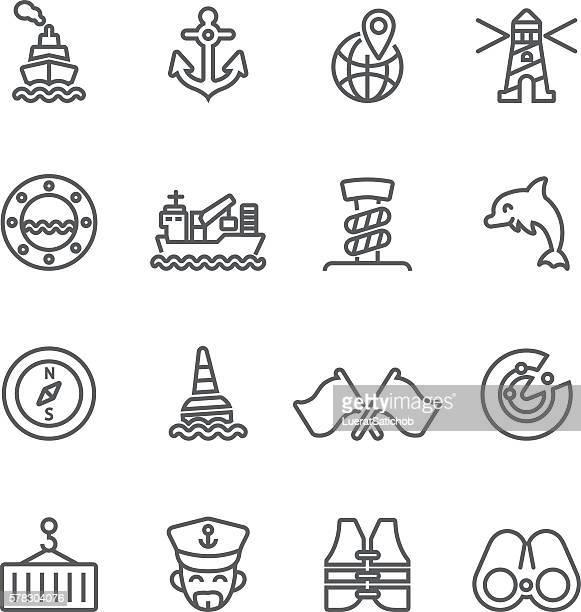 shipping port line icons | eps10 - us marine corps stock illustrations, clip art, cartoons, & icons