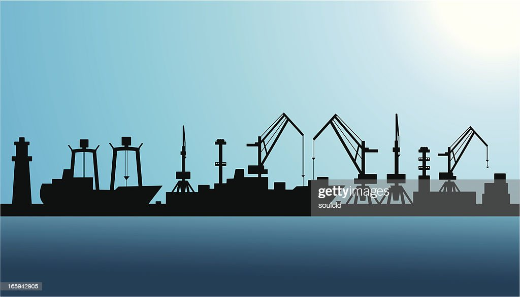 Shipping port silhouette