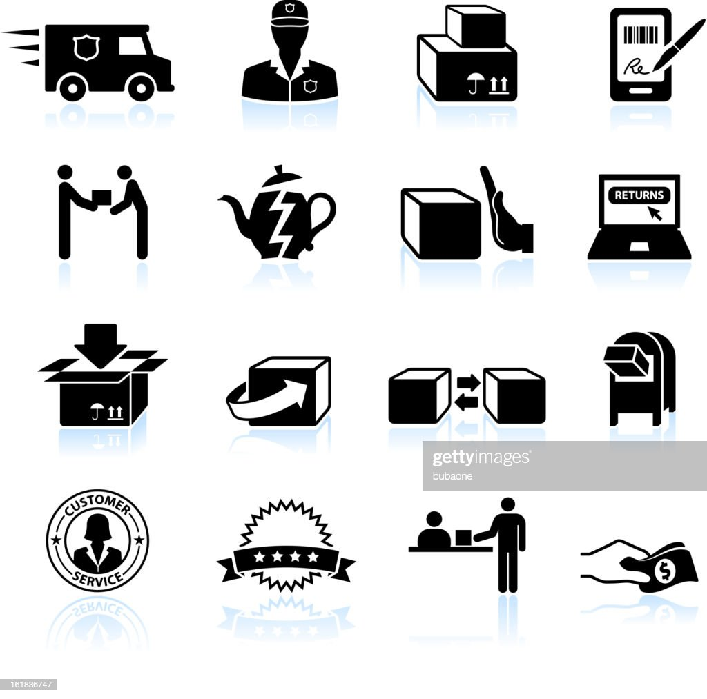 Shipping Return And Exchange Black White Vector Icon Set