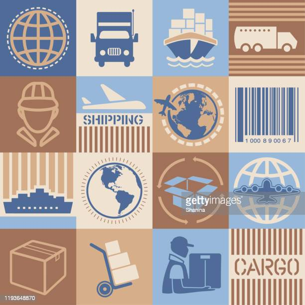 shipping square icons set - fragile sticker stock illustrations