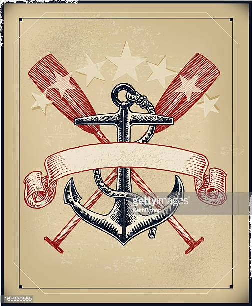 Ship's Anchor and Oar Banner - Retro Background