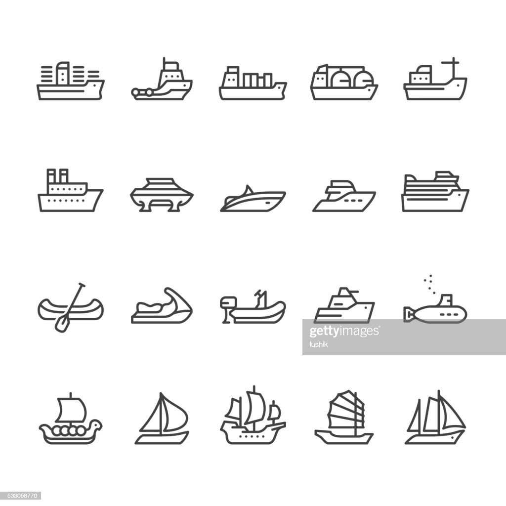Ships and Boats vector icons : stock illustration