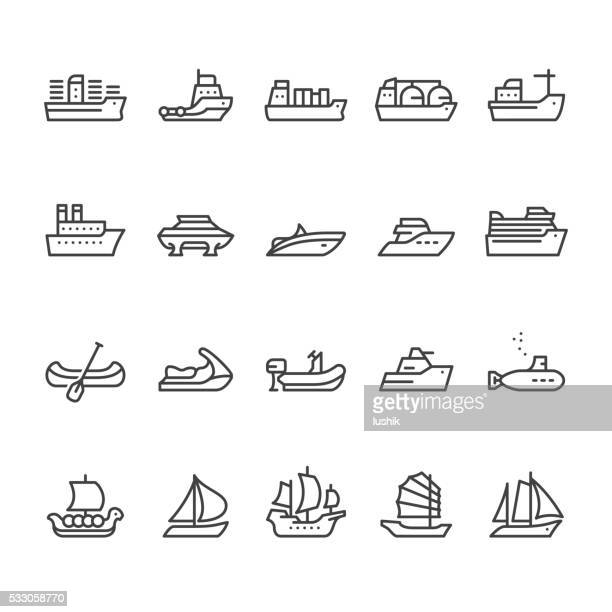 ships and boats vector icons - navy ship stock illustrations