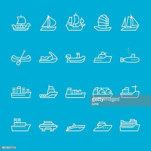 船舶と航海船の種類 - nautical vessel点のイラスト素材/クリップアート素材/マンガ素材/アイコン素材