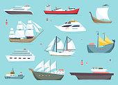 Ships at sea, shipping boats, ocean transport vector icons set