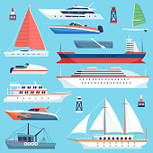 Ships boats flat. Maritime transport, ocean cruise liner ship, yacht with sail. Large vessels cargo barge flat vector set