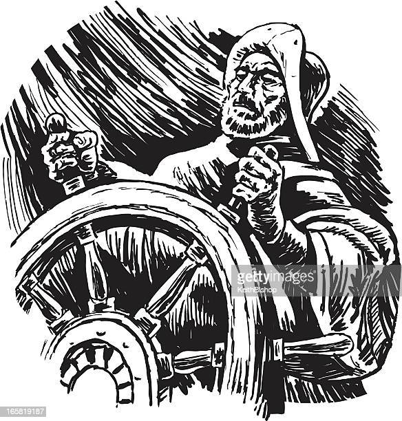ship's captain steering in storm - boat captain stock illustrations, clip art, cartoons, & icons