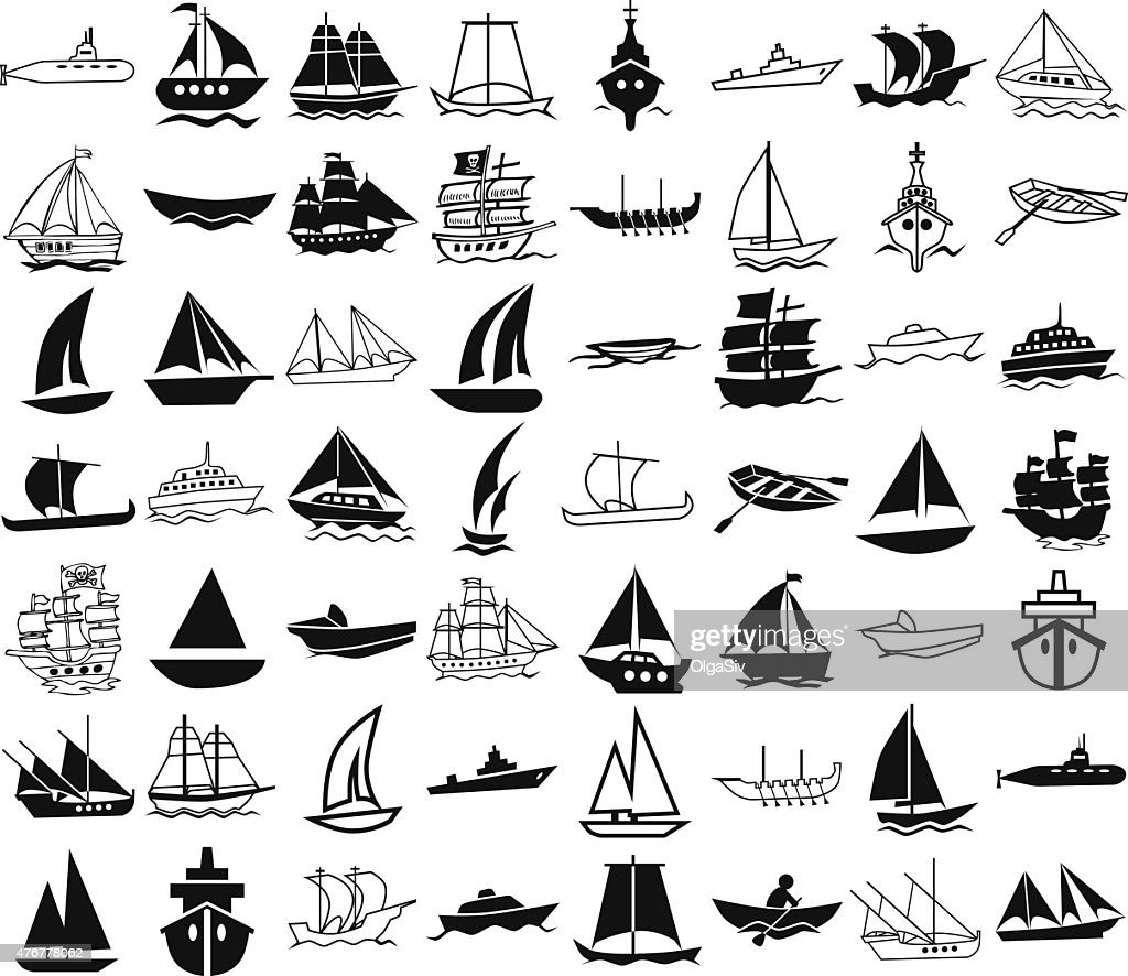 ships icons on white