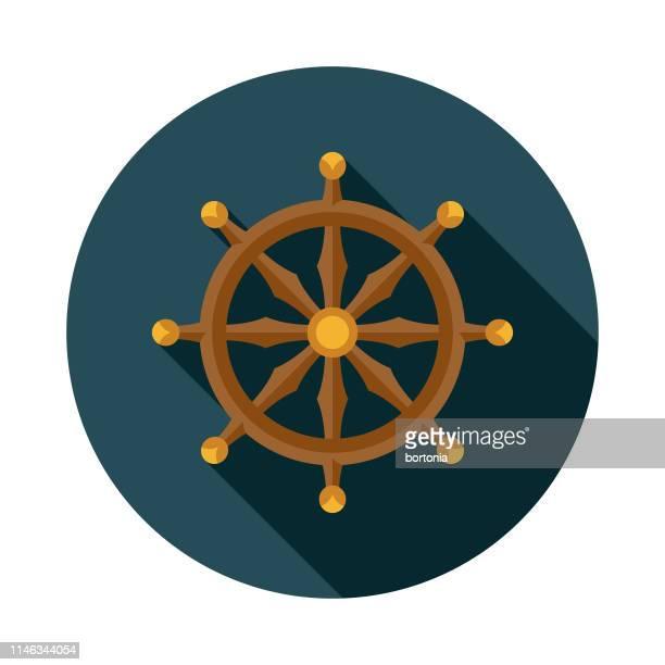 Ship's Wheel Nautical Flat Design Icon