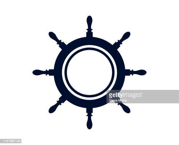 ship's wheel or captains wheel isolated on white background - vector - steering wheel stock illustrations