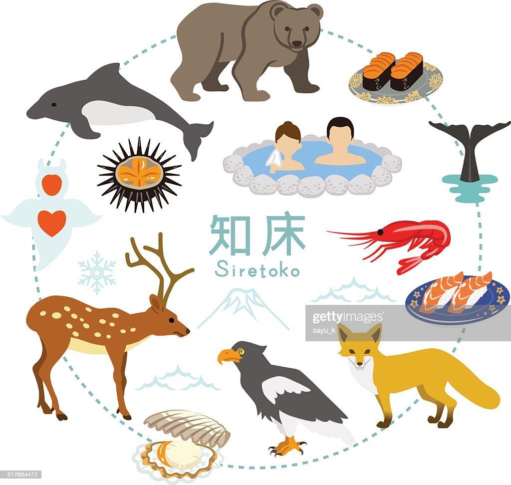 Shiretoko Tourism - Flat icons