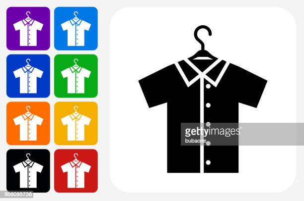 Shirt on Hanger Icon Square Button Set