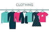 Shirts, Sweatshirt, Jacket and Dresses on Hangers
