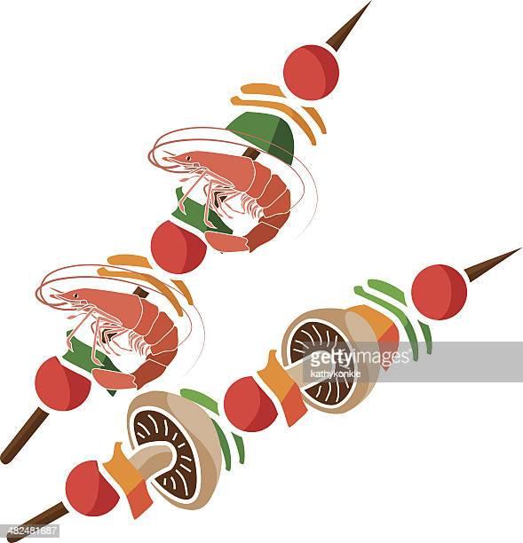 ilustrações, clipart, desenhos animados e ícones de espetinho de shish - camarões