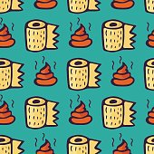 Shit and roll of toilet paper. Seamless color vector pattern in turquoise background.
