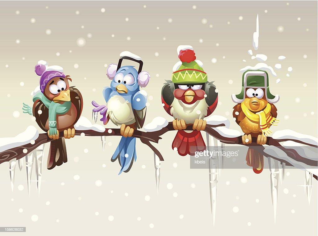 Frösteln Vögel : Stock-Illustration