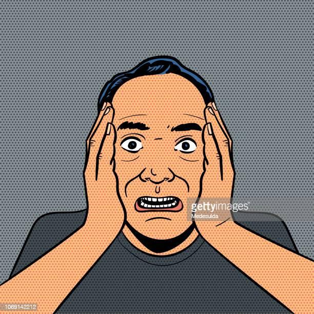 shock man vector retro - bad news stock illustrations
