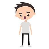 Shocked boy flat vector illustration