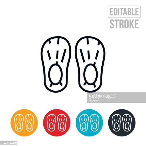 靴カバー細い線アイコン - 編集可能なストローク - ブーティ点のイラスト素材/クリップアート素材/マンガ素材/アイコン素材