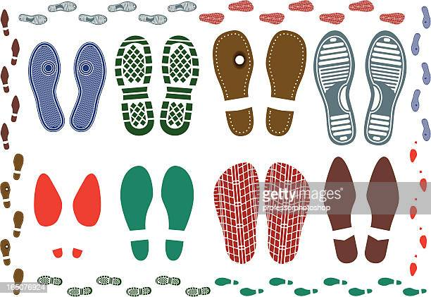shoe prints - stepping stock illustrations, clip art, cartoons, & icons