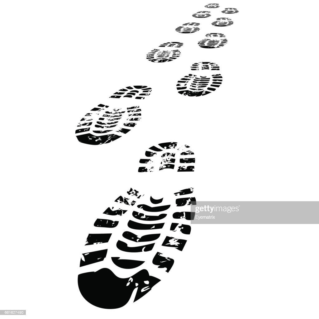Shoe Prints Walking Forwards
