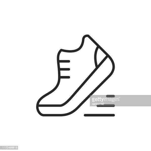 schuh, running line icon. bearbeitbarer strich. pixel perfekt. für mobile und web. - schuhwerk stock-grafiken, -clipart, -cartoons und -symbole