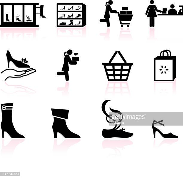shoe sale black and white royalty free vector icon set