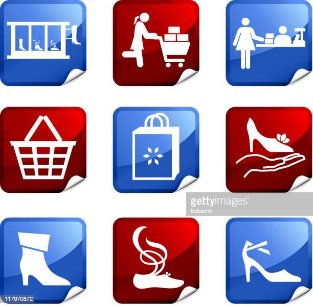 shoe sale royalty free vector icon set stickers
