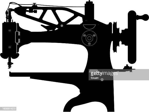 shoe sewing machine silhouette - sewing machine stock illustrations, clip art, cartoons, & icons