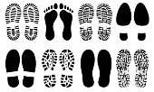 Shoe sole, foot feet, footprints human shoes silhouette vector