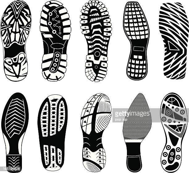 shoe tracks - sports shoe stock illustrations
