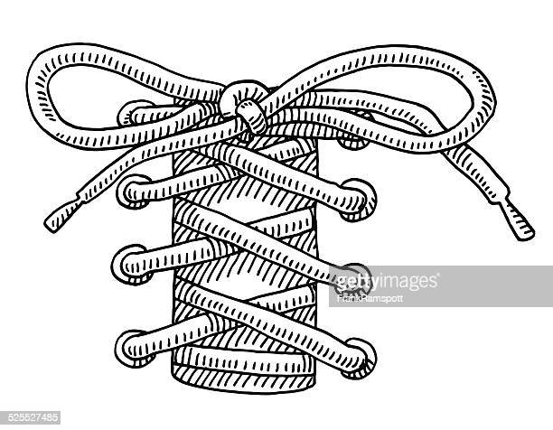 shoelace knot drawing - en búsqueda stock illustrations