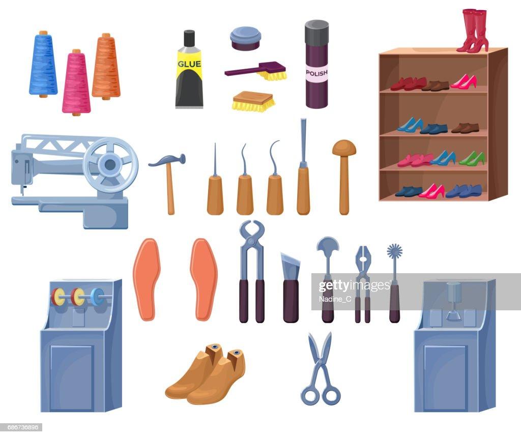 Shoemaker or cobbler tools set including carpenter repair instru