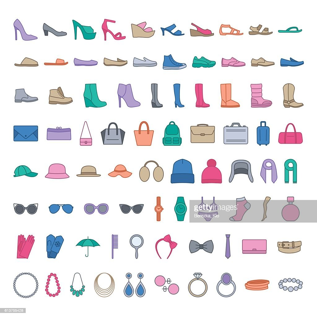 Shoes and accessories colored icons.